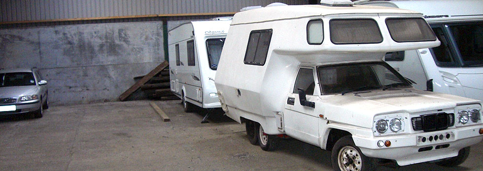 Caravans in storage